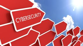 Red arrows with the word cybersecurity sunny day Royalty Free Stock Photography