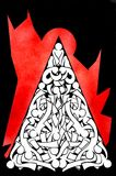 Red, Art, Black And White, Leaf