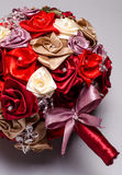 Red artificial flowers bouquet Stock Images
