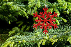 Red (artificial) snowflake ornament Stock Photos