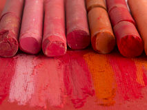 Red artistic crayons Royalty Free Stock Photos