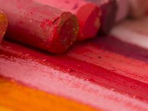 Red artistic crayons Royalty Free Stock Image
