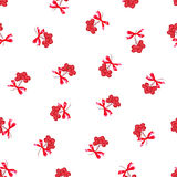Red ashberry bunches with ribbon bows seamless vector print Royalty Free Stock Images