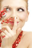 Red ashberry girl Royalty Free Stock Images