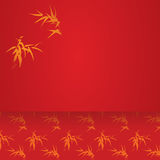 Red Asian bamboo horizontal banner Stock Images