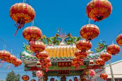 Free Red Asian Lantern In Chinese Pagoda For Anniversary Celebration Stock Images - 199616764