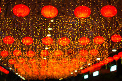 Red Asian Lanterns. In hong kong Royalty Free Stock Photo