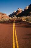 Red Asphalt Roadway Redrock Canyon Utah Backroads Stock Photo