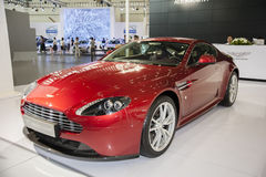 Red aston martin vantage s coupe car. In 2014 central china international auto expo Royalty Free Stock Image