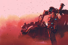 Red astronaut standing near futuristic vehicle on Mars planet Stock Image