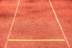 Red athlete Track or Running Track and line. Red athlete Track or Running Track and direction line with corner of the football field yoga win white way training royalty free stock image