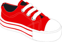 Red athletic shoe. A vectored illustration of a bright red sneaker, tennis or athletic shoe Stock Photos