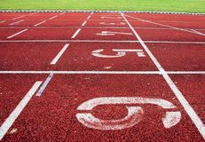 Red athletic track Royalty Free Stock Photography