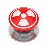 Red Atomic Bomb Launch Nuclear Button with Radiation Symbol. 3d. Red Atomic Bomb Launch Nuclear Button with Radiation Symbol on a white background. 3d Rendering Stock Photo