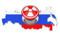 Red Atomic Bomb Launch Nuclear Button with Radiation Symbol over. Russian Map with Flag on a white background. 3d Rendering Royalty Free Stock Photos