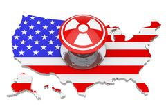 Red Atomic Bomb Launch Nuclear Button with Radiation Symbol over. USA Map with Flag on a white background. 3d Rendering Royalty Free Stock Photo