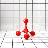 Red atomic structure on tiled bright background Stock Image