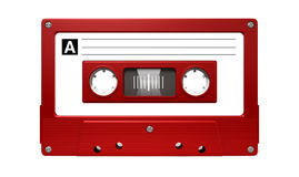 Red Audio Cassette Tape Stock Photography
