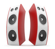 Red audio speaker. Acoustic system 3D.  on white Stock Photography