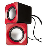 Red audio speaker isolated on white Royalty Free Stock Photos