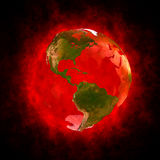 Red aura of Earth - America. 3D illustration of planet Earth with red aura on black background. Theme of spirituality, creation of the world, transformation of royalty free illustration