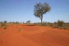 Red Australian landscape. Blue clear sky over the red Australian rural road. Rainbow valley, Southern Northern Territory, Australia Royalty Free Stock Photo