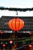 Red authentic lantern. Authentic Asian lantern in the time of festival Stock Images