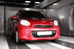 Red auto at car wash royalty free stock images