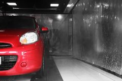 Red auto car wash. Space for text stock photography