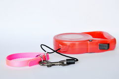 Red automatic leash and pink nylon dog collar on white background Royalty Free Stock Photo
