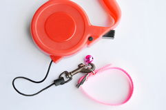 Red automatic leash and pink nylon pet collar on white background Royalty Free Stock Photography