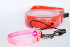 Red automatic leash and pink nylon pet collar on white background Royalty Free Stock Photos