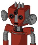 Red Automaton With Mechanical Head And Sad Mouth And Three-Eyed And Three Spiked. Portrait style Red Automaton With Mechanical Head And Sad Mouth And Three-Eyed stock illustration