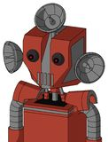 Red Automaton With Mechanical Head And Vent Mouth And Red Eyed And Radar Dish Hat. Portrait style Red Automaton With Mechanical Head And Vent Mouth And Red Eyed royalty free illustration