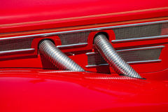 Red automobile exhaust system componen-corrugated Royalty Free Stock Photos