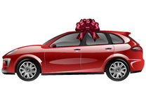 Red automobile with ribbon bow. Car as a gift Stock Image