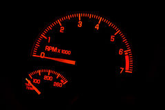 Red automotive tachometer Royalty Free Stock Photography