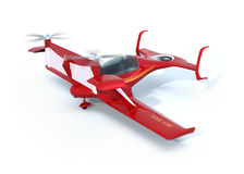 Red autonomous flying drone taxi on the ground Stock Photo