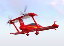 Red autonomous flying drone taxi in the sky Stock Image