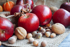 Red autumn apples assortment with nuts Stock Photo
