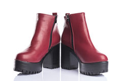 Red autumn boots Stock Photography