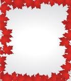Red autumn border leaves illustration. Design over a white background Stock Illustration