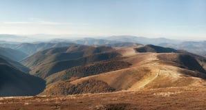 Red autumn in a Carpathian mountains. Borzhava ridge. National park of Ukraine. Royalty Free Stock Images