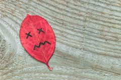Red autumn leaf with sad face emotions on the old wooden background. Black marker on the leaf royalty free stock images