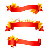 Red Autumn Ribbons and Banners Royalty Free Stock Image