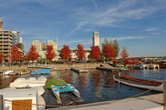 Red autumn trees on the yacht harbor. Royalty Free Stock Photography