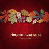 Red autumn vector background. Autumn leaf ornament on the bright red grunge background Stock Illustration