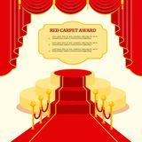 Red award carpet. Poster template. Flat vector cartoon illustration. Objects isolated on a white background stock illustration