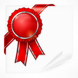 Red award label on paper Stock Photography