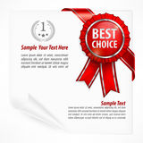 Red award label on paper & text Stock Images